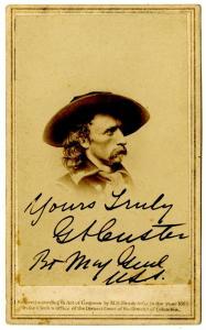 "Mathew Brady carte de visite of George A. Custer, signed with rank as ""Yours Truly / GA Custer / Bt Maj Genl / U.S.A.,"" (estimate: $20,000-$26,000)."