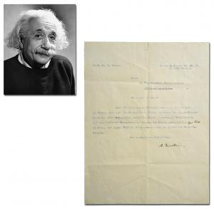 One-page letter typed in German and signed by Albert Einstein in 1921, regarding his theory of relativity (estimate: $18,000-$20,000).