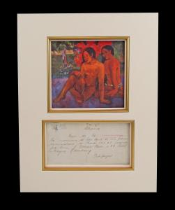 Document signed by Paul Gauguin sometime during the last three years of the artist's life, when he was living French Polynesia (estimate: $15,000-$20,000).