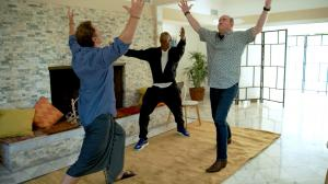 Stars of the film with NFTs in a photo from the film 'Reboot Camp,' David Lipper as Gordon St. Pierre in a cleansing exercise with Ja Rule and David Koechner, as themselves.