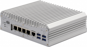 Image shows the VPC-5620S industrial system, also called VPC-5620IS, on a slightly off-front view, showing its main I/O features including the four Smart PoE ports.