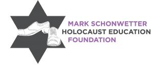 Mark Schonwetter Holocaust Education Foundation logo of Jewish Star with Shoes in center