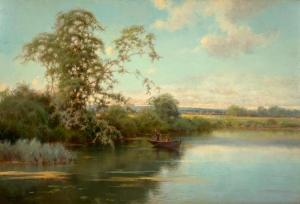 Oil on wood panel tranquil river scene with two boys in a boat by Emilio Sanchez Perrier (Spanish, 1855-1907) (estimate: $6,000-$9,000).