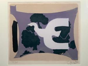 Lithograph in color on BFK Rives paper by Georges Braque (French 1882-1963), titled L'Atelier (1962), artist signed and numbered 55/75 (estimate: $2,000-$4,000).