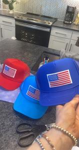 Hats with American flag.