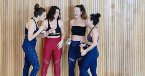 Girls after a yoga class
