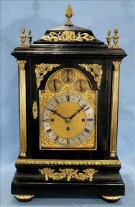 George III style ebonized mahogany triple fusée musical bracket clock with eight nestev bells (estimate: $2,500-$3,500).