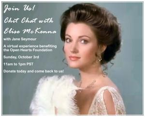 """The invitation is a photo of Jane Seymour as Elise McKenna in the movie Somewhere In Time with the date and times for the """"Chit Chat with Elise McKenna"""" on October 3rd"""