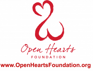 a logo of the Open Hearts Foundation and website url