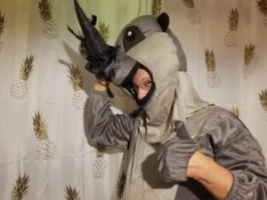 Rhino Party Candidate Znoneofthe Above in Rhino Suit