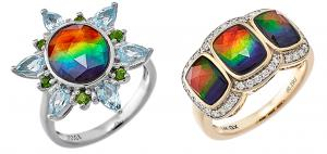 GEMXX Gold and Silver Ammolite Rings