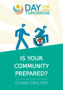 Day for tomorrow poster with image of wheelchair pushing together with a walking person up hill with text: Is your community prepared?
