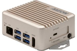 Image shows the front of the BOXER-8221AI, showing the LAN port, four USB 3.0 ports, and HDMI port.