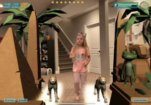 After hip surgery, a child strengthens her muscles by running with virtual cheetahs.