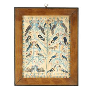 Large (18 inches by 14 inches) watercolor and ink folk art fraktur-type painting by Anna Weber (Canadian, 1814-1888), dated 1870 (estimate: CA$12,000-$18,000).