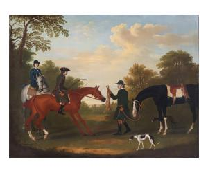 Painting by James Seymour (British, 1702-1752), titled Hare Coursing, signed, dated 1737.