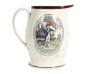 Success to America transfer-decorated creamware cider pitcher, English, dated 1802.