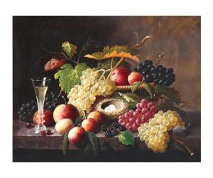Painting by Severin Roesen (American, 1815-1872), titled Still life of Fruit, signed.