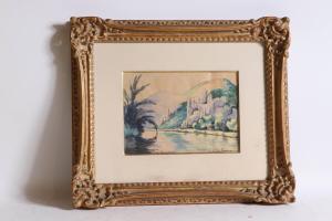 Watercolor on paper by Paul Emile Pissarro (1884-1972), titled Le Pain de Sucre.
