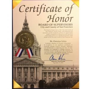 San Francisco Supervisor Aaron Peskin presented San Francisco resident Dr. Christine Ichim with a Certificate of Honor for her work on behalf of leukemia research and the fight against cancer.