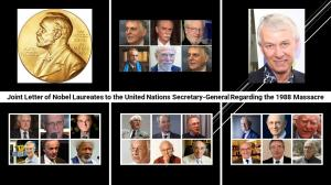 """October 13, 2021 - In the absence of international accountability, genocide and crimes against humanity continue in Iran,"""" the Nobel laureates wrote to the UN Secretary-General."""