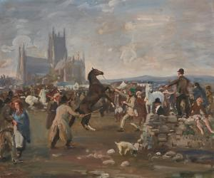 Oil on canvas painting by Sir Alfred James Munnings, P.R.A., R.W.S. (British, 1878-1959), titled The Kilkenny Horse Fair ($500,000).