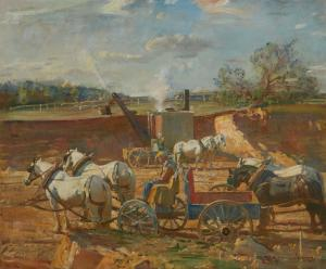 Oil on canvas painting by Sir Alfred James Munnings, P.R.A., R.W.S. (British, 1878-1959), titled Making a Polo Ground at Princemere, ($162,500).