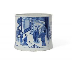 Chinese porcelain brush pot, Transitional / Kangxi period, 7 inches tall ($40,000).