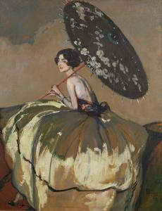Oil on canvas painting by Jean Gabriel Domergue (French, 1889-1962), titled Portrait of a seated woman with a parasol (1919) ($35,000).