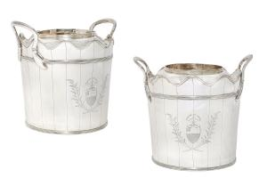 Pair of George III sterling silver wine coolers (London, 1798), 8 inches tall, weighing of 99 oz. troy ($37,500).