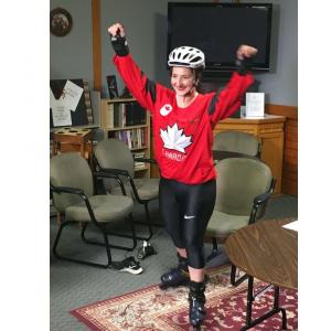 Christine Ichim, the girl who rollerbladed across Canada, strapped on her rollerblades once again to embark on the mission of cancer prevention in the fire services.