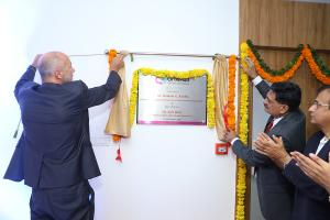 Dr. Hemant Koshia and Rolf Benz unveiling Inauguration board