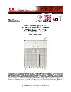 Report cover for EJL Wireless DNA-I Huawei RRU5818