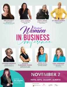 Kim Hayden presents the Resilient Women in Business Conference, Tuesday, November 2nd, Hotel Arts Women's Event