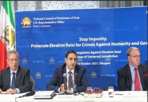October 14, 2021 - Wednesday's press conference alongside NCRI Foreign Affairs Committee member Hossein Abedini, former Scottish MEP Struan Stevenson, and Tahar Boumedra, the former head of the human rights office for the United Nations Assistance Mission