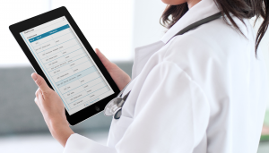 GIDEON application: medical doctor using GIDEON to look up information on COVID-19 prevalence surveys in the United States