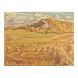 Oil on board country scape painting by Group of Seven founding member Alexander Young Jackson (Canadian, 1882-1974), done in 1966 (CA$38,350).