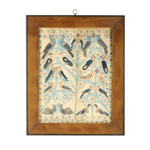 Large (18 inches by 14 inches) watercolor and ink folk art fraktur-type painting by Anna Weber (Canadian, 1814-1888), signed and dated 1870 (CA$27,140).