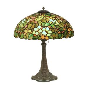 Duffner & Kimberly table lamp, made in America in the 1920s, featuring a Nasturtiums floral pattern mosaic 20-inch diameter glass shade on a bronze base (CA$23,600).