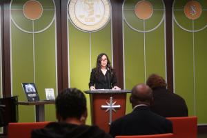 Emma Ashton, Social Reform Officer of the Church of Scientology Kansas City, moderated the conference.