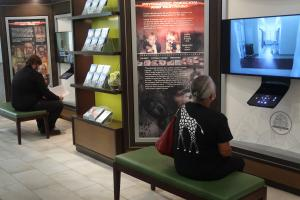 Guests were invited to learn about the abuse inherent in psychiatry by watching informative videos in the Church's public information center.