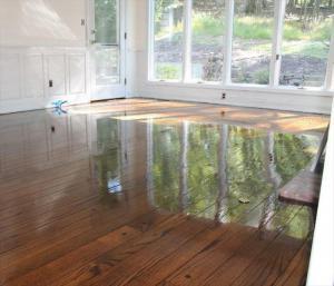 Flooded hard wood floors