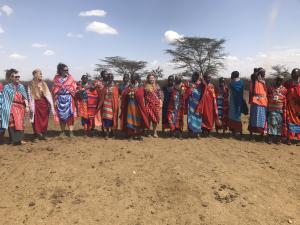 Dreamweaver Volunteer Montana Bruhl with villagers in Kenya, East Africa.
