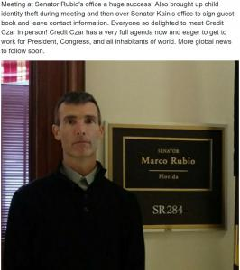 America's child protector and SubscriberWise CEO David E. Howe at the Office of United States Senator Marco Rubio, Washington, D.C.
