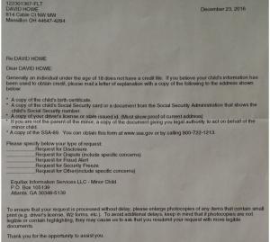 Equifax Letter To U.S. Credit Czar David Howe