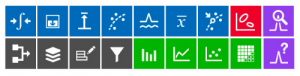 Simple buttons are used to represent analysis functions.