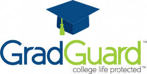 The logo image of GradGuard with a blue cap above the text GradGuard and the statement college life protected