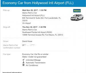 Alamo Car Rental Reservation, FLL