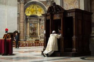 Clergy Confessing His Sins in Vatican