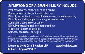 brain injury ID card - back